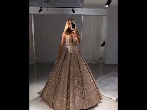 Shiny Gold Ball Gown Evening Dresses   Sexy V-Neck Sequin Prom Dresses