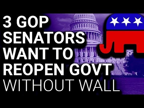 Image result for 3 Republican Senators Want to Reopen Govt Without the Wall