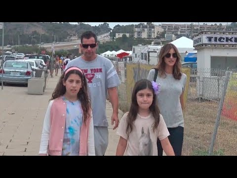 Adam Sandler In A Great Mood Taking The Whole Family To The Malibu Fair