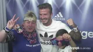 David Beckham surprises fans in photo booth at Westfield Stratford City