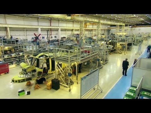 Building military helicopters along a production line