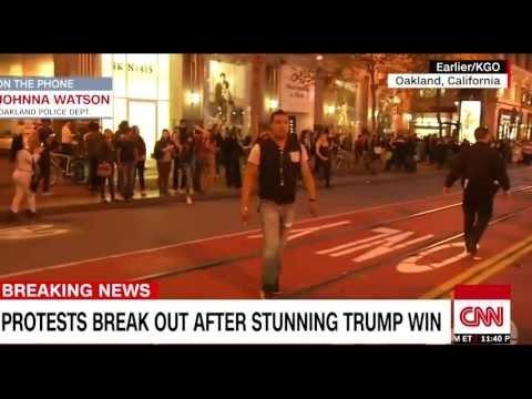 NEWS ALERT ; [ LATEST NEWS ] Anti-Trump protests tonight in Oakland, San Francisco
