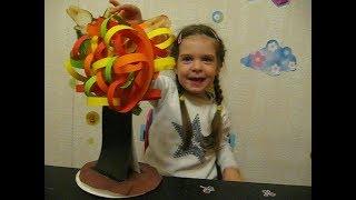 Осеннее дерево из цветной бумаги. DIY Поделки на тему осени. Поделки в детский сад и школу