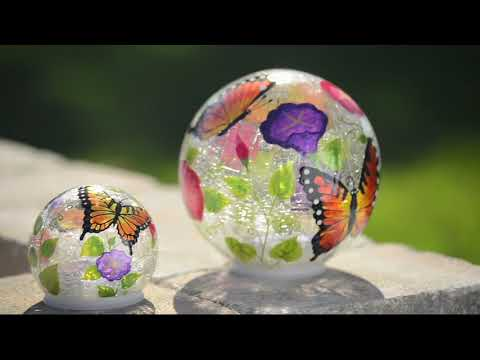Plow & Hearth Set of 2 Hand Painted Solar Glass Globes on QVC