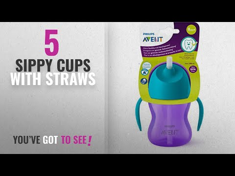 Top 10 Sippy Cups With Straws [2018]: Philips Avent Straw Cup, 7oz (Purple)