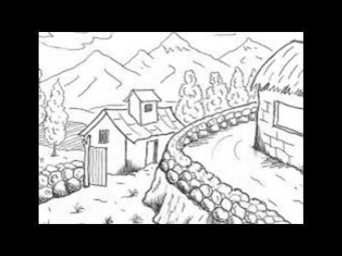 Sketsa Gambar Pemandangan Alam Youtube