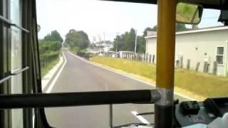 2010.8.30鹿島鉄道鉾田線廃線跡バス専用道前面展望 小川→石岡