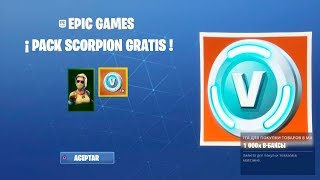 "FORTNITE REGALEs the PACK ""SCORPION"" SKIN + 1000 PAVOS FREE"