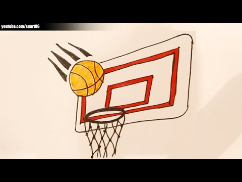 How to draw a basketball hoop - YouTube