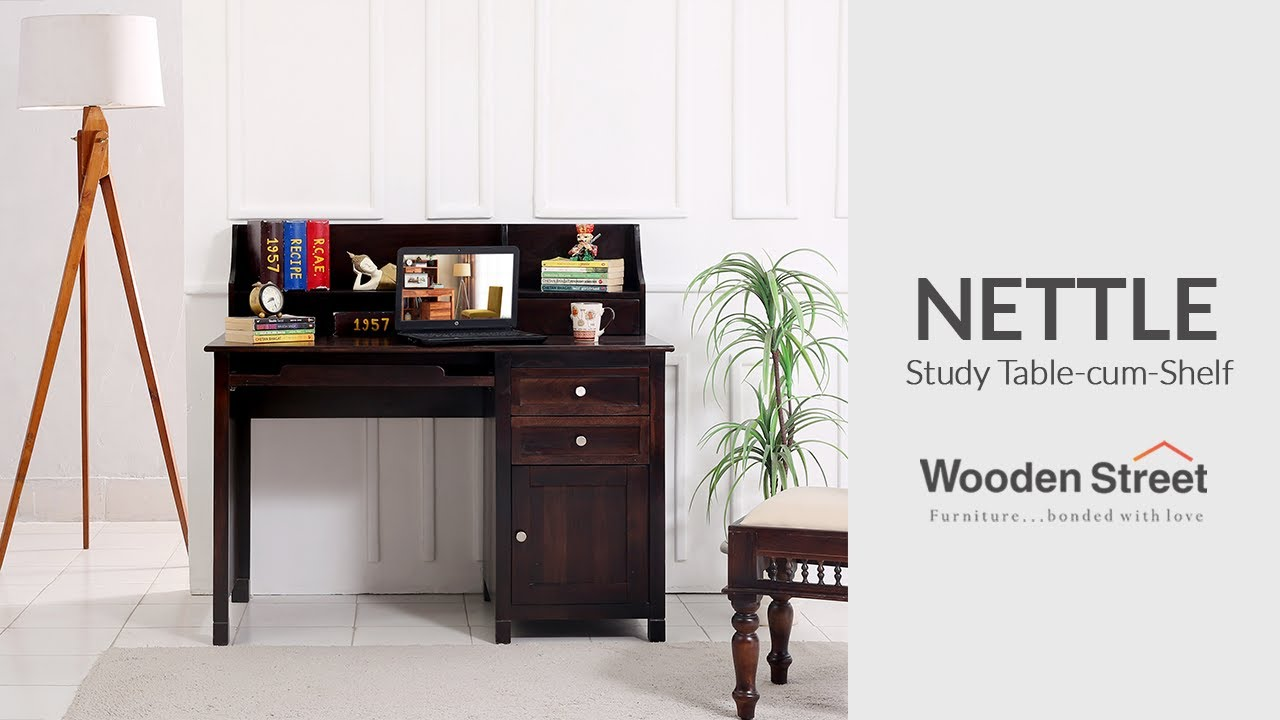 Best Study Table Design  | Nettle Study Table Cum Shelf by Wooden Street