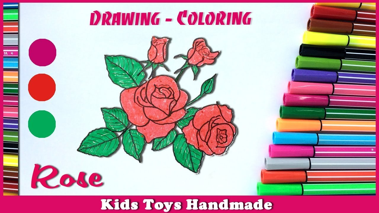 Rose - Drawing and Coloring Flowers | Kids learn Drawing | Coloring ...