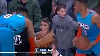 Russell Westbrook Confronts Little Boy Who SHOVED Him During Game!