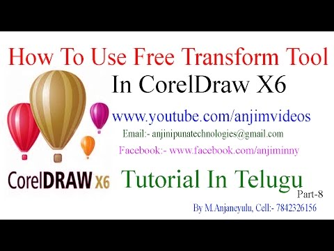 CorelDraw X6 Tutorial In Telugu Part-8 | How To Use Free Transform Tool In CorelDraw X6 In Telugu