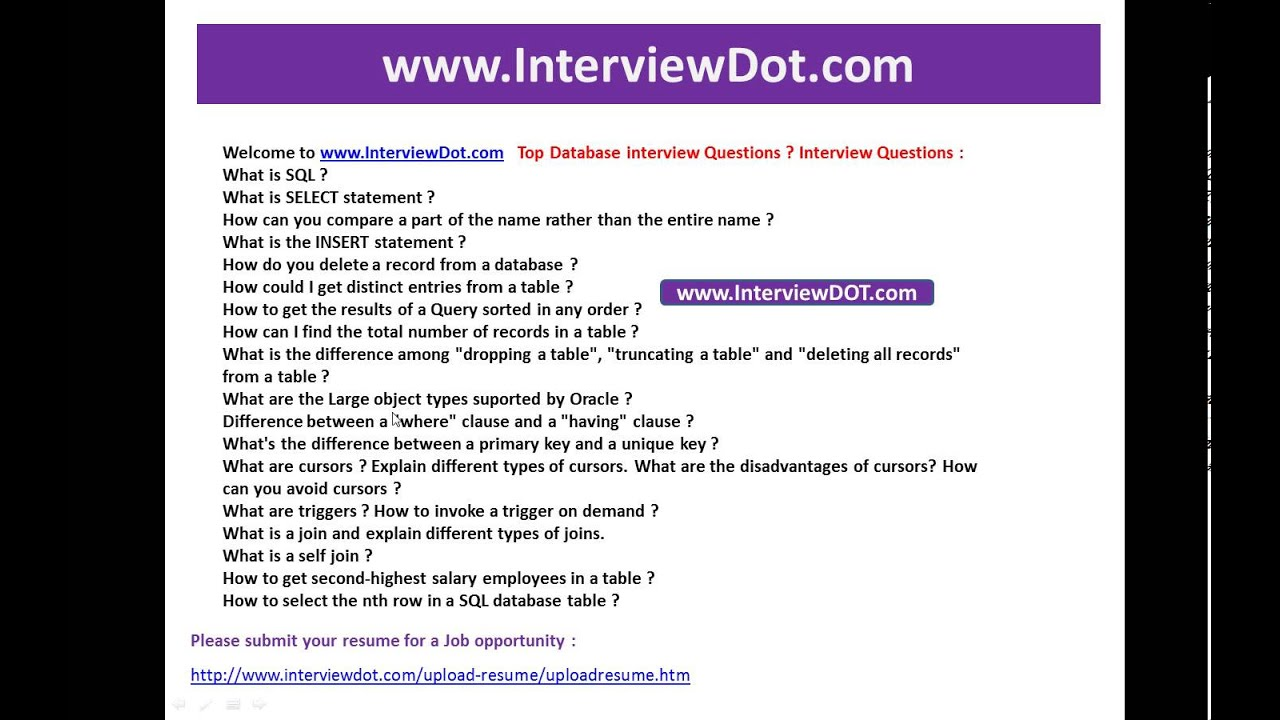 interviewdot com job portal top database interview questions interviewdot com job portal top database interview questions interview