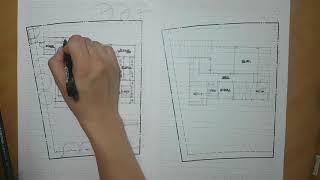 건축 도면 계획과 핸드드로잉
