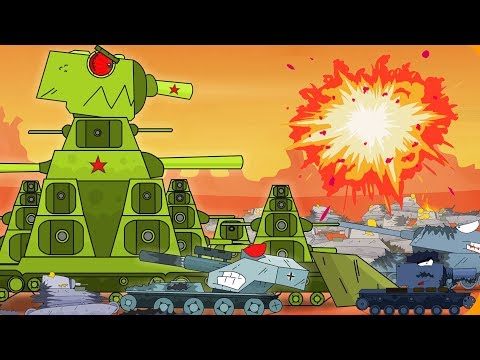 Many tanks KB-44 are trapped. Monster Truck Cartoon for kids. Russiantank animation.
