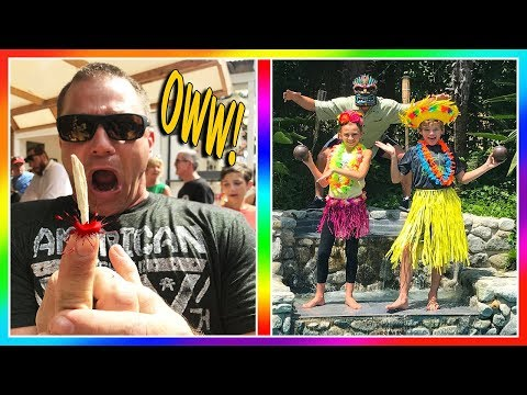 DAD GETS THE BIGGEST SPLINTER! | WE GO TO A LUAU | We Are The Davises