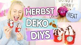 3 einfache Herbst 🍂 Deko DIYs  ♥ Starbucks Kerzen, Tumblr Kürbisse & Girlande selber machen