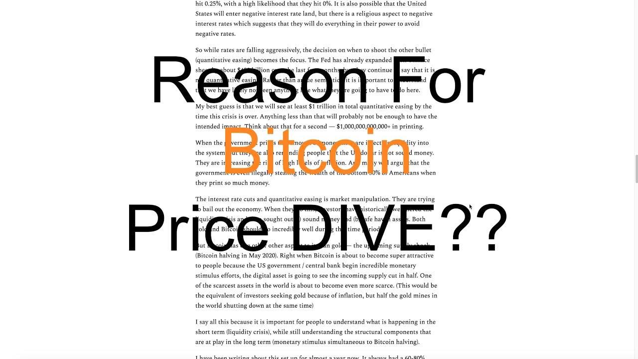 Reason For Bitcoin Price Dive?