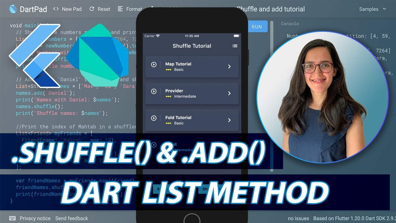 List Method shuffle and add in Dart and Flutter
