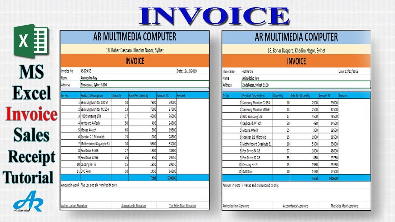 How To Create Invoice Bill In Ms Excel 2020 Invoice Design Xls Free Excel Receipt Template 21 Ar Youtube
