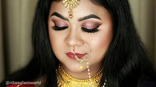 Step by Step Engagement Makeup Tutorial | Smokey Eyes | Nude Lips | Hooded Eyes #Requested