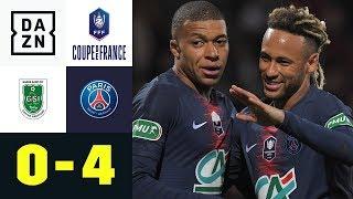 Mr. Dreadlocks Neymar erzwingt wunderschönes Eigentor: Pontivy - PSG 0:4 | Coupe de France | DAZN