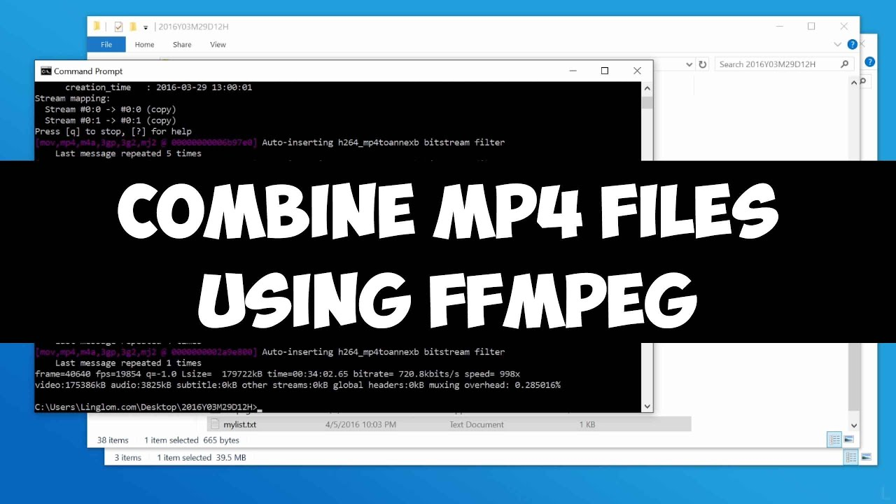 Combine MP4 files using FFMPEG on Windows (without re