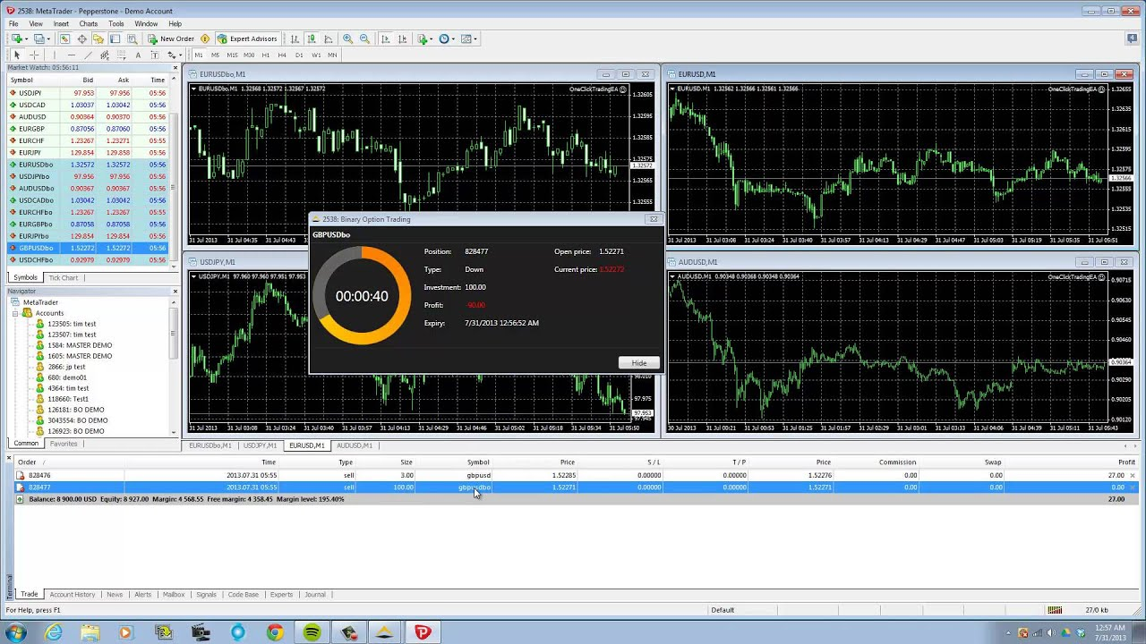 Forex binary options example