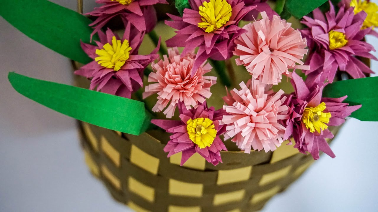 How To Make Flower Basket With Chart Paper : Crafts with paper flower basket handiworks