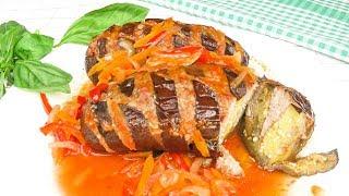Баклажаны  с мясным фаршем и соусом   Eggplants  with mincemeat and sauce
