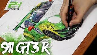 Porsche 911 GT3 R | Realistic Car Drawing | Time Lapse
