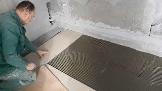 Облицовка пола,прихожая,коридор,ванная,кухня ч.5(В этом видео продолжение работ по изготовлению общего пола из плитки,повышенной прочности,сразу на четыре..., 2015-04-21T08:13:43.000Z)