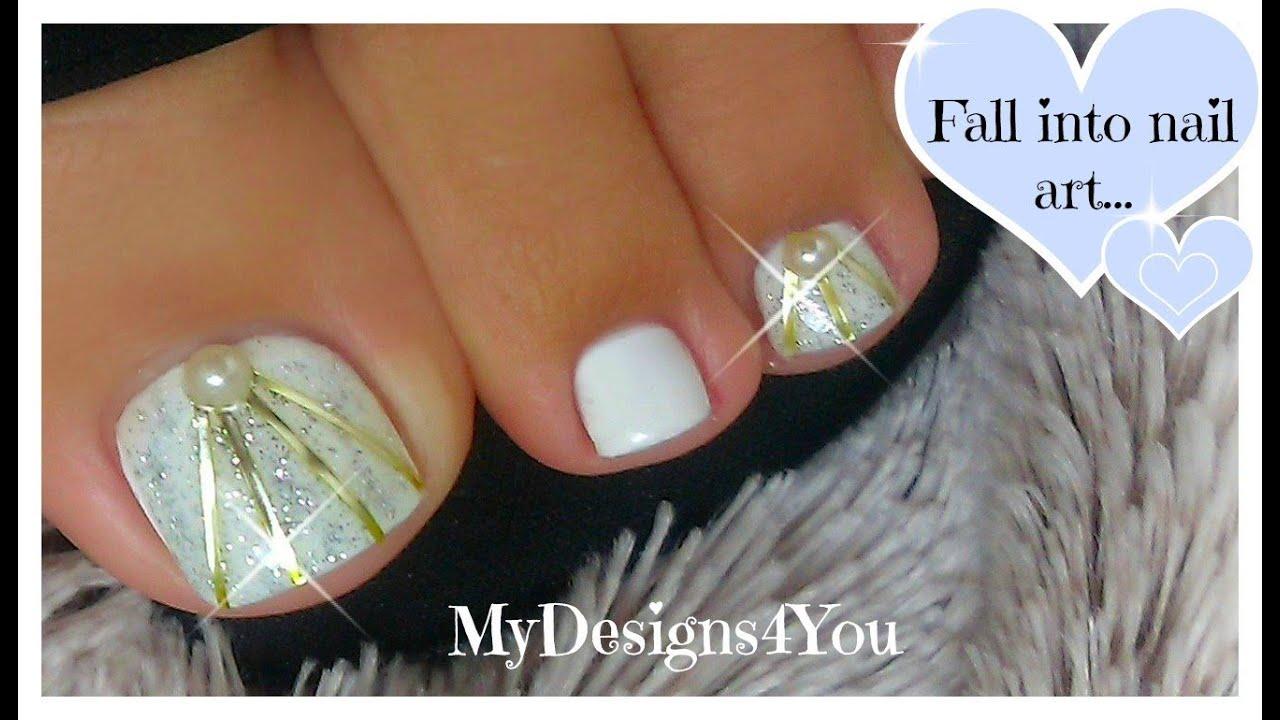 DIY Wedding Toenail Art Design | Bridal Nails ♥ Diseño de Uñas de ...