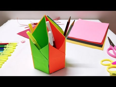 how-to-make-paper-pen-stand-/-holder--easy-and-step-by-step-craft-tutorial-for-kids-origami-projects