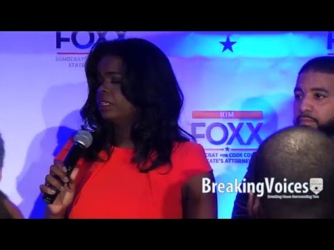 Kim Foxx Victory Speech During  Illinois Primary March 16, 2016