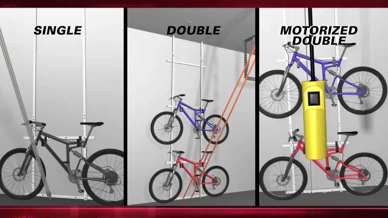 motorized double bike lift by power rax youtube. Black Bedroom Furniture Sets. Home Design Ideas