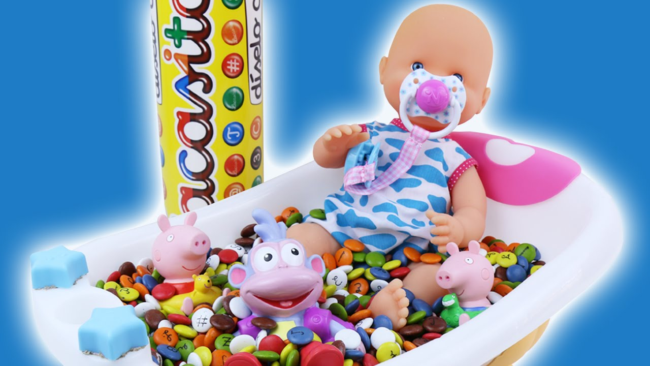 Baby Doll Bath Time In Smarties Candy Pretend Play - YouTube