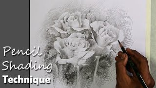 Pencil Shading Technique : Bunch of Roses | step by step drawing video