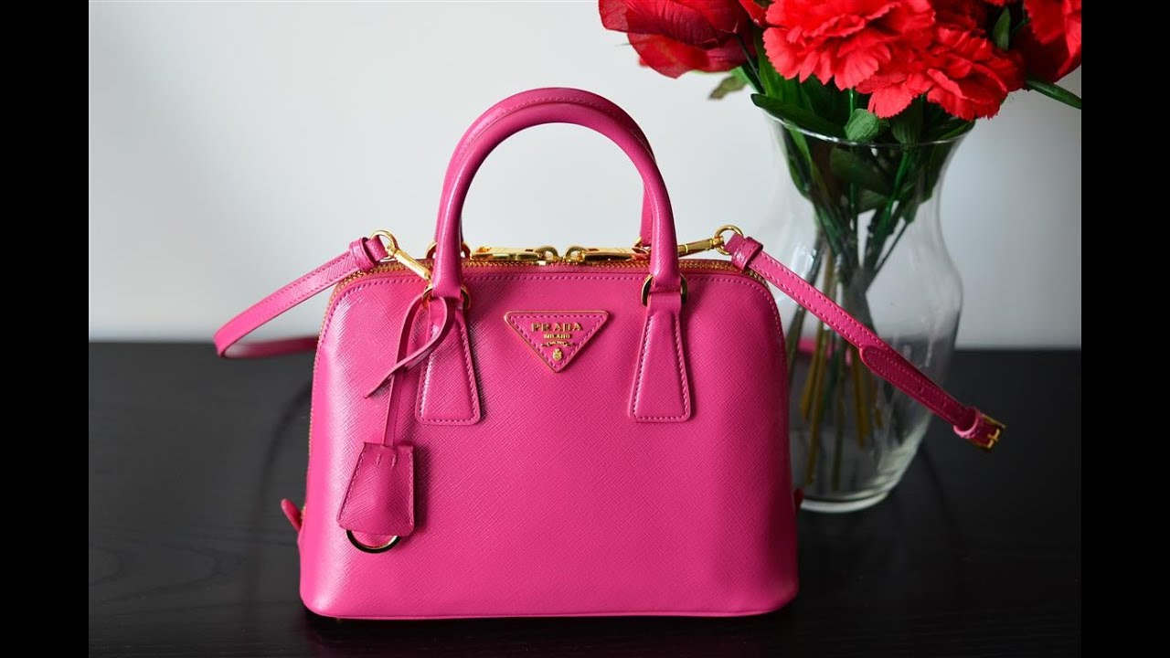 light pink prada bag - Prada Patent Pink Vernice Promenade Bag Purse Review - YouTube