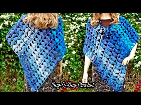 Learn How To Crochet Sapphire And Ice Lace La Poncho Tutorial