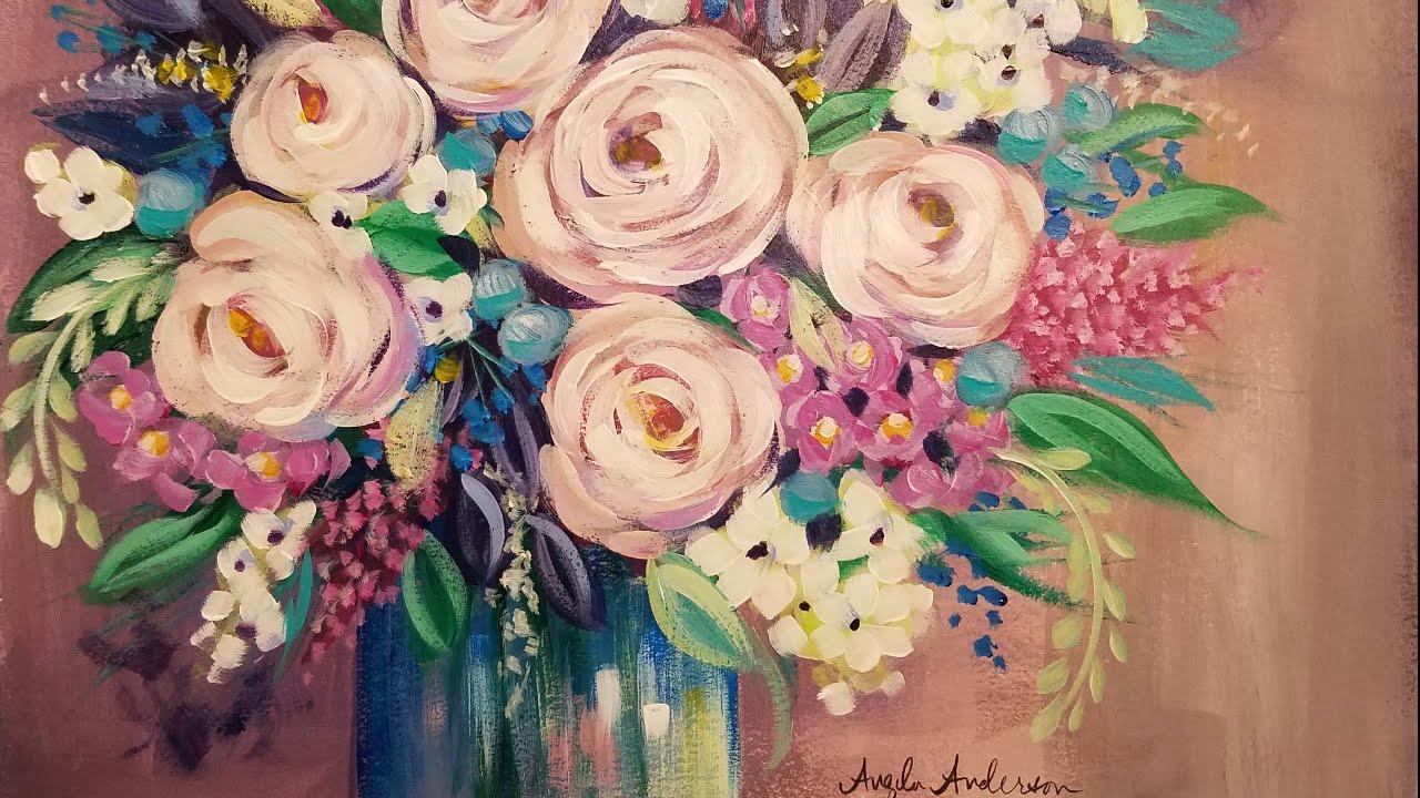 Easy impressionist floral vase acrylic painting tutorial live easy impressionist floral vase acrylic painting tutorial live reviewsmspy