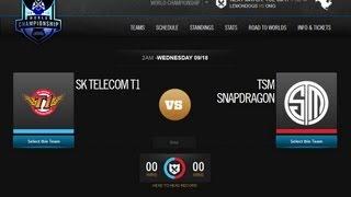 NecroTarkan: SK Telecom T1 (SKT) vs TSM Snapdragon (TSM)  World Championship 2013 Day 3 Game 5