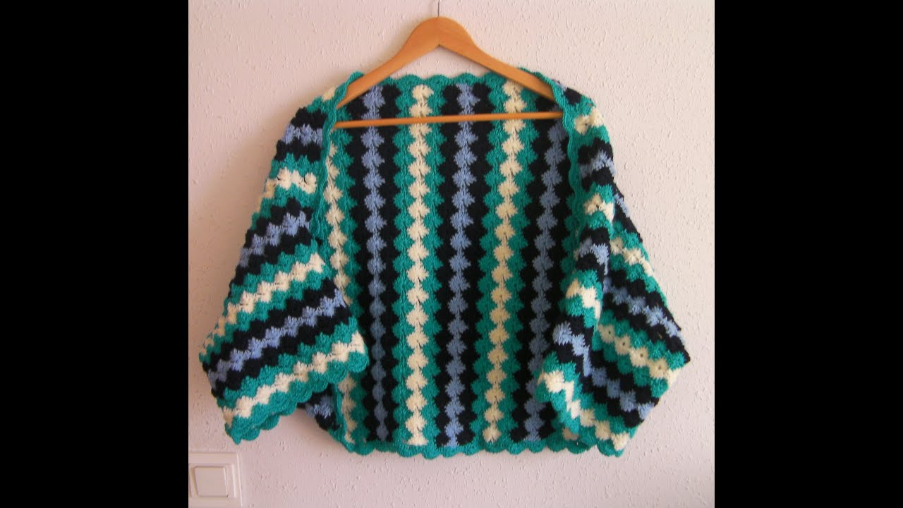 Crochet tutorial chaqueta kimono ganchillo - YouTube