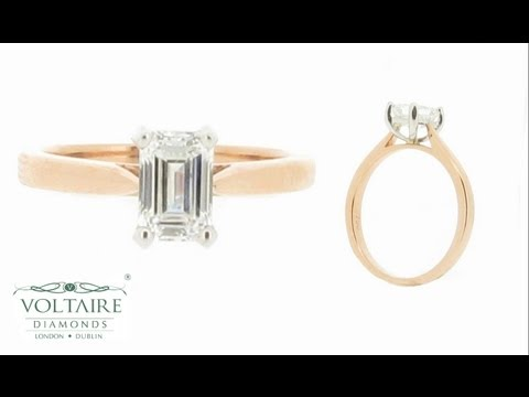 Emerald Cut Solitaire with Rose Gold Band Engagement Ring