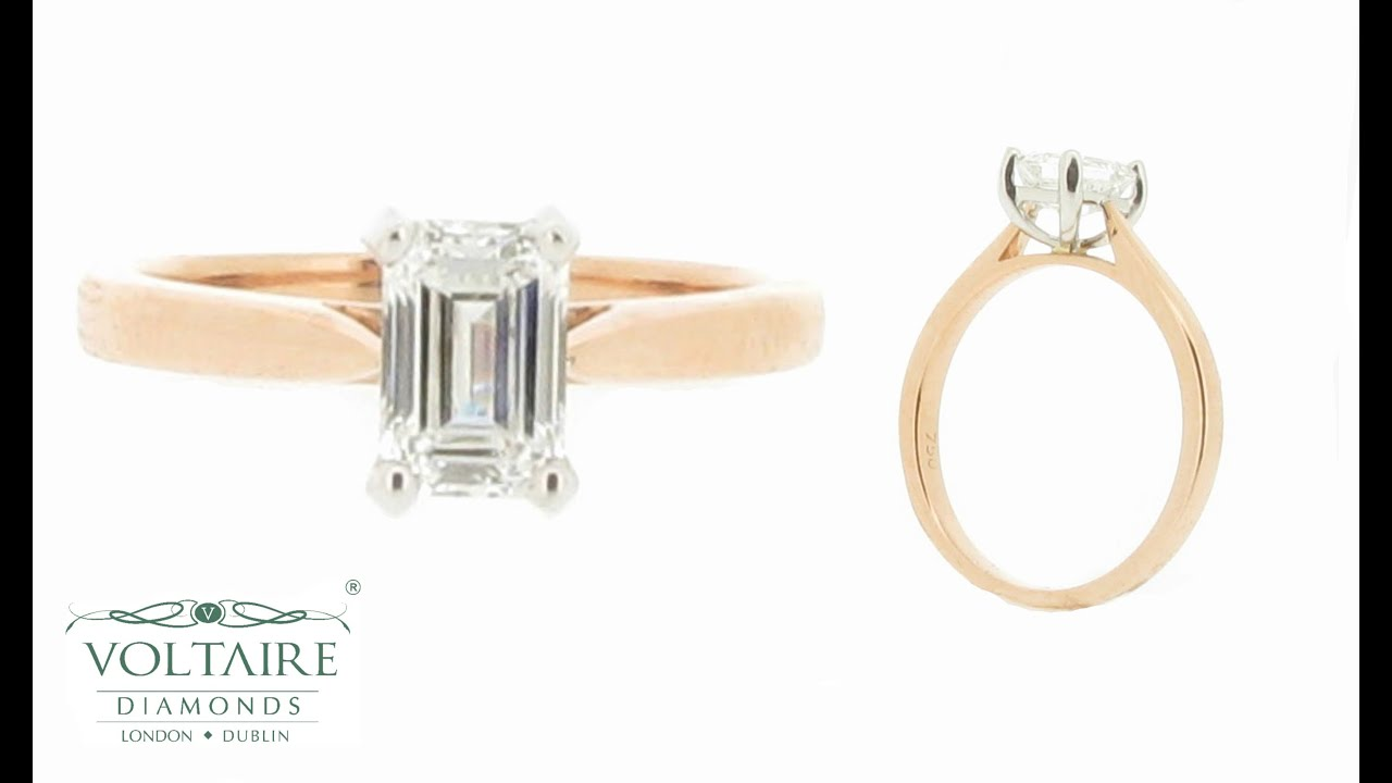 Emerald Cut Solitaire with Rose Gold Band Engagement Ring ...