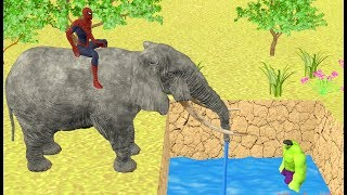 Hulk in Trouble - Spiderman Elephant Puppy save Hulk | Learn Colours for Kids
