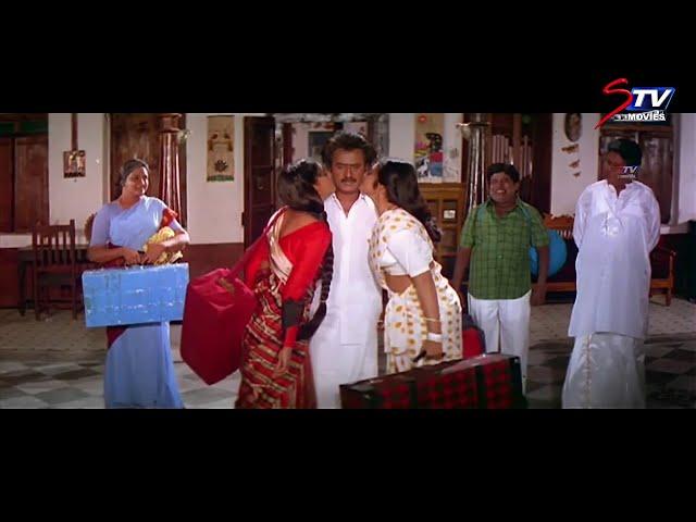 Veera Tamil Movie Climax Scene   வீரா   Rajinikanth   Roja   Meena   Senthil   STV Movie