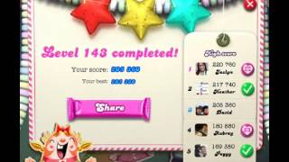 How to beat Candy Crush Saga Level 143 - 3 Stars - No Boosters - 205,360pts