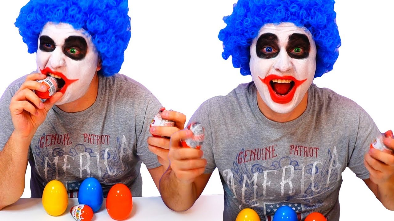 A Lot of Candy and Surprise Eggs Funny Clown Magic Prank